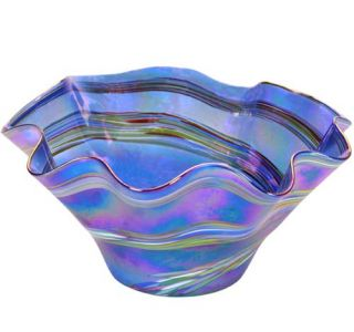 Glass Eye Studio - Large Wave Bowl - Blue Rainbow Twist - 9