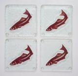 Jones Glassworks - Salmon Coasters - Set of 4 - 4