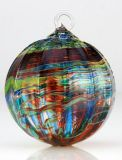 Mt. St. Helens Ash Hand Blown Glass Ornament - Peacock - 3'' diameter