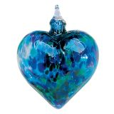 Mt. St. Helens Volcanic Ash Hand Blown Art Glass Heart Ornament - Blue Mosaic Chip - 3