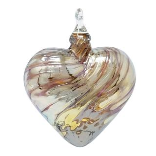 Mt. St. Helens Volcanic Ash Hand Blown Art Glass Heart Ornament - Golden Love - 3