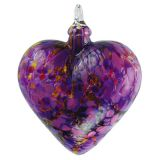 Mt. St. Helens Volcanic Ash Hand Blown Art Glass Heart Ornament - Iris - 3
