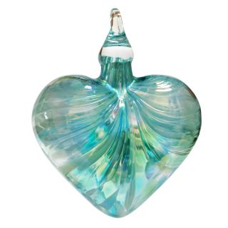 Mt. St. Helens Volcanic Ash Hand Blown Art Glass Heart Ornament - Jade Mosaic- 3