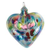 Mt. St. Helens Volcanic Ash Hand Blown Art Glass Heart Ornament - Opal Confetti - 3