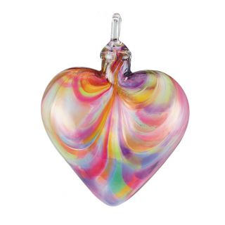 Mt. St. Helens Volcanic Ash Hand Blown Art Glass Heart Ornament - Rainbow - 3