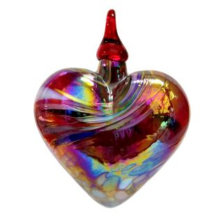 Mt. St. Helens Volcanic Ash Hand Blown Art Glass Heart Ornament - Red Feather - 3