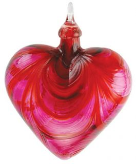 Mt. St. Helens Volcanic Ash Hand Blown Art Glass Heart Ornament - Valentine - 3