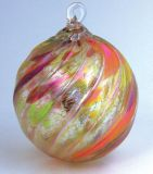 Mt. St. Helens Volcanic Ash Hand Blown Art Glass Ornament - Autumn Twist - 3'' diameter