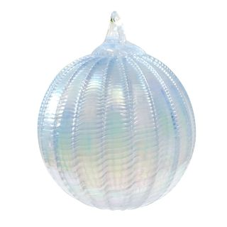 Mt. St. Helens Volcanic Ash Hand Blown Art Glass Ornament - Blue Frost Sorbet - 3'' diameter
