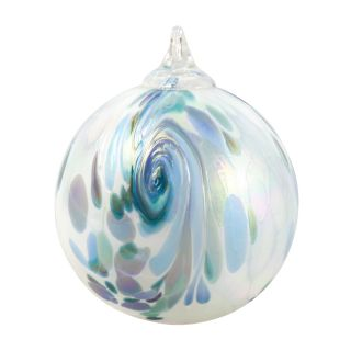 Mt. St. Helens Volcanic Ash Hand Blown Art Glass Ornament - Blue Hydrangea Feather - 3'' diameter