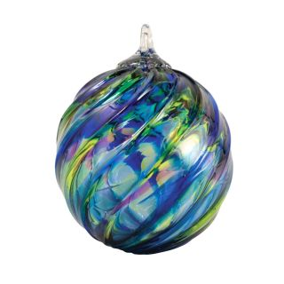 Mt. St. Helens Volcanic Ash Hand Blown Art Glass Ornament - Blue Mosaic Twist - 3'' diameter