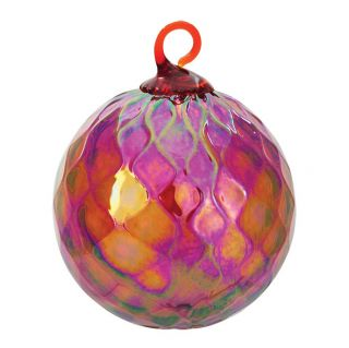 Mt. St. Helens Volcanic Ash Hand Blown Art Glass Ornament - Garnet Red Diamond Facet - 3'' diameter
