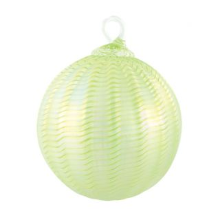 Mt. St. Helens Volcanic Ash Hand Blown Art Glass Ornament - Honeydew Sorbet - 3'' diameter