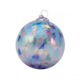Mt. St. Helens Volcanic Ash Hand Blown Art Glass Ornament - Lavender Fields - 3'' diameter
