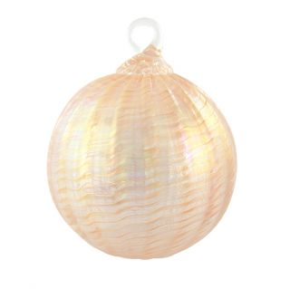 Mt. St. Helens Volcanic Ash Hand Blown Art Glass Ornament - Peach Sorbet - 3'' diameter