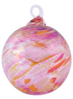Mt. St. Helens Volcanic Ash Hand Blown Art Glass Ornament - Peony Twist - 3'' diameter