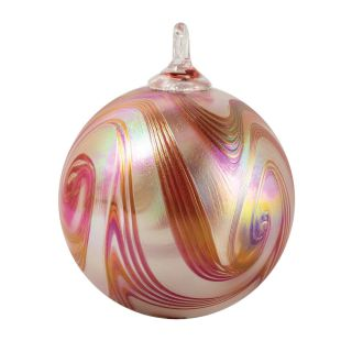 Mt. St. Helens Volcanic Ash Hand Blown Art Glass Ornament - Poppy Swirl - 3'' diameter