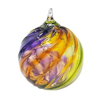 Mt. St. Helens Volcanic Ash Hand Blown Art Glass Ornament - Purple Haze Twist - 3'' diameter