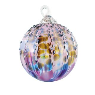 Mt. St. Helens Volcanic Ash Hand Blown Art Glass Ornament - Purple Sprinkle - 3