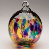 Mt. St. Helens Volcanic Ash Hand Blown Art Glass Ornament - Rainbow Chip - 3'' diameter
