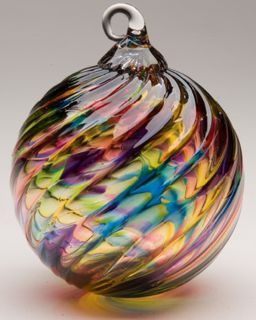 Mt. St. Helens Volcanic Ash Hand Blown Art Glass Ornament - Rainbow Twist - 3'' diameter
