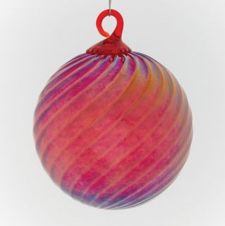 Mt. St. Helens Volcanic Ash Hand Blown Art Glass Ornament - Red Optic Twist - 3'' diameter