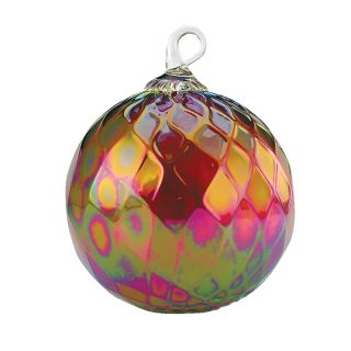 Mt. St. Helens Volcanic Ash Hand Blown Art Glass Ornament - Ruby Diamond Facet - 3'' diameter