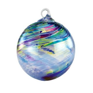 Mt. St. Helens Volcanic Ash Hand Blown Art Glass Ornament - Sapphire Feather Chip - 3'' diameter