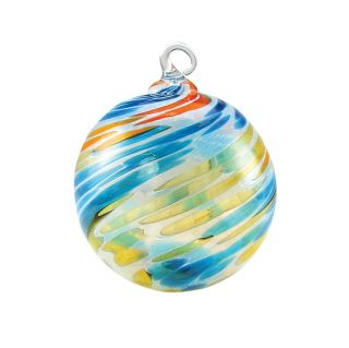 Mt. St. Helens Volcanic Ash Hand Blown Art Glass Ornament - Seashore - 3'' diameter