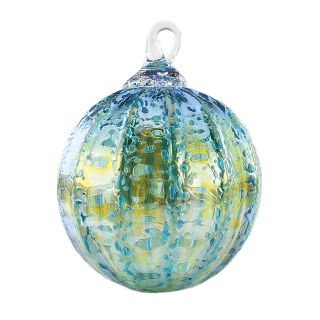 Mt. St. Helens Volcanic Ash Hand Blown Art Glass Ornament - Teal Luster - 3