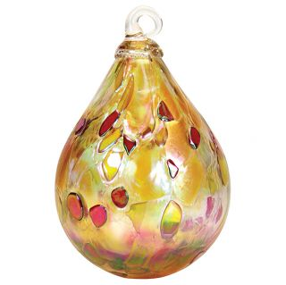 Mt. St. Helens Volcanic Ash Hand Blown Art Glass Raindrop Ornament - Dusty Gold - 4'' height