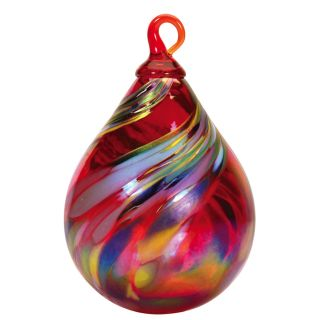 Mt. St. Helens Volcanic Ash Hand Blown Art Glass Raindrop Ornament - Holiday Swirl - 4'' height