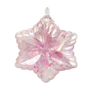 Mt. St. Helens Volcanic Ash Hand Blown Art Glass Vintage Star Ornament - Pink - 3.5'' diameter