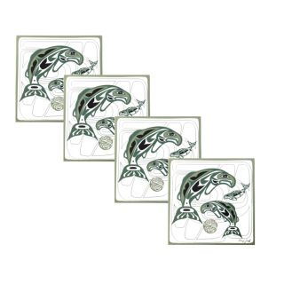 Native American - Circle of Life Salmon Design - Coasters