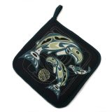 Native American - Circle of Life Salmon Design - Pot Holder