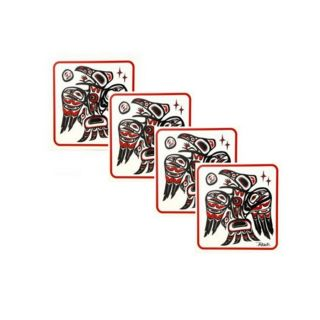 Native American Raven Design Coasters - set of four