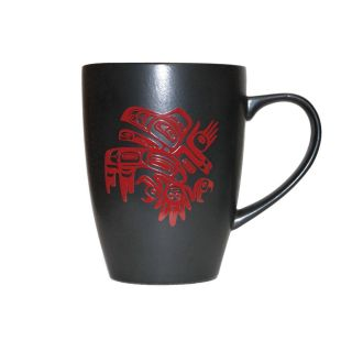 Native American - Raven - Matte Black Ceramic Mug
