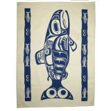 Native American Salmon Design Tea Towel - 19