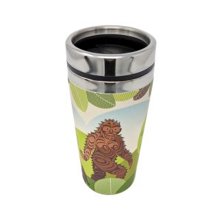 Native American Sasquatch Design Insulated Bamboo Travel Mug - 7'' x 3.5''