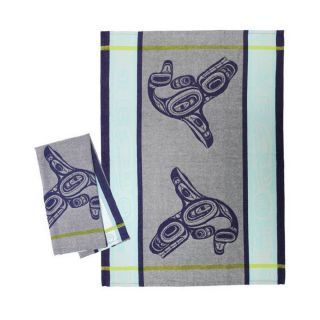 Native American - Whale Design - Tea Towel