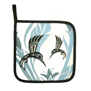 North Coast Indian Hummingbird Design Pot Holder (Blue) - by Tsimshian native artist Bill Helin