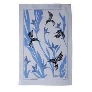 North Coast Indian Hummingbird Design Tea Towel (Blue) -  by Tsimshian native artist Bill Helin