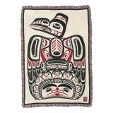 Pacific Northwest Coast Native American Children of the Raven - Cotton Throw Blanket - by Northwest Coast Indian artist Bill Reid - 48