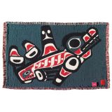 Pacific Northwest Coast Native American Orca Whale - Cotton Throw Blanket - by Joe Mandur Jr - approx: 48