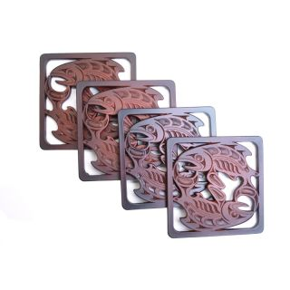 Pacific Northwest Coast Native American Salmon Coaster - Best Price: 4 Coasters