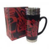 Stainless Steel and Ceramic Travel Mug with Handle - Embracing - 7