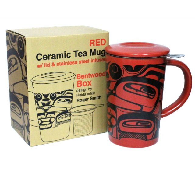 Ceramic Tea Mug w/Stainless Steel Infuser (Red) - by Roger Smith