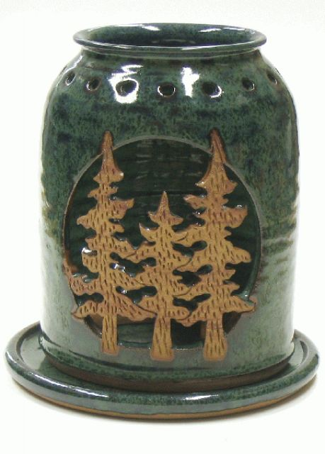 Forest Candle Handmade Pottery Lantern - by Pam and Mac