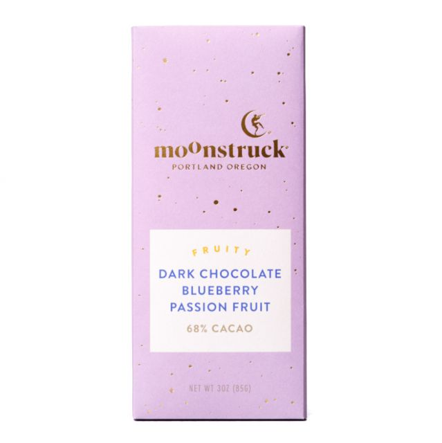 Moonstruck Blueberry Passion Fruit Dark Chocolate Bar - 3 oz