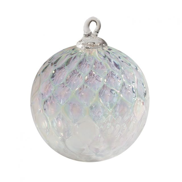 Mt. St. Helens Volcanic Ash Hand Blown Art Glass Ornament - Clear Diamond Facet - 3'' diameter